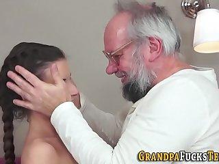 Petite slut fucks grandpa