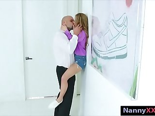Small tits blonde teen babysitter Lilly railed by big cock