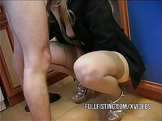 Sexy Slut In Stockings Fisted Anal Fucked