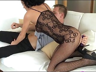 StrapOn Mature women taking DP with a vibrating cockring strap on